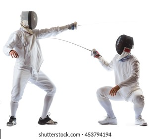 Fencing athletes or players isolated in white background