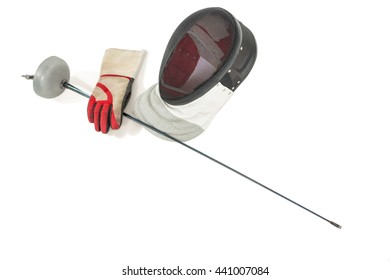 Fencing mask, sword and gloves on isolated white background