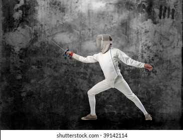fencing player on grunge background