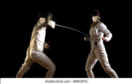Fencing - a touch!  Man and woman in foils bout, against black