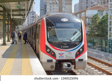 Feneryolu, Istanbul - March 16, 2019 : Connecting Istanbul Anatolian side and European side (Between Gebze- Halkali), Marmaray suburban rail officially opened. TURKEY