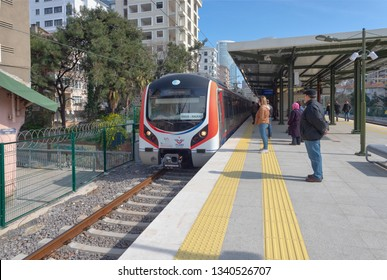 Feneryolu, Istanbul - March 16, 2019 : Anatolian side Marmaray Train Station on, Gebze - Halkali train. TURKEY