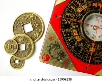 Feng shui compass (Luopan) and chinese coins.