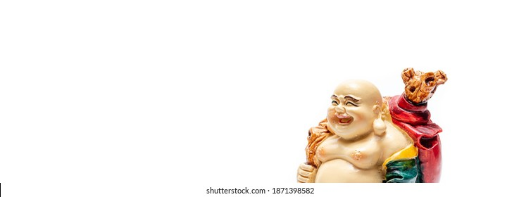 Feng Shui talisman white background. Hotei Happy Laughing Buddha or happy buddha comes with happiness and smiles.