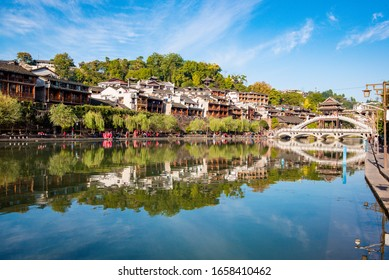 FENGHUANG, CHINA - OCTOBER 28th, 2019: Street view local visitor and tourist atFenghuang old town Phoenix ancient town
