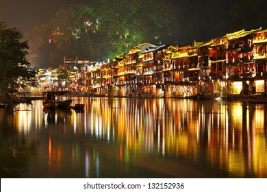 Fenghuang (Phoenix) ancient town at night, Hunan province, China
