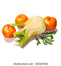 Fennel, mandarins and arugula. Handmade watercolor painting illustration on a white background