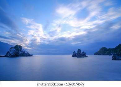 Fenniaolin Coast Landscape - Famous natural spot of Yilan, long exposure at sunrise, shot in Suao Township, Yilan, Taiwan.