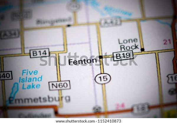 Fenton. Iowa. USA on a map