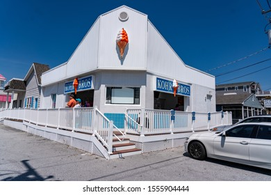 Fenwick Island, DE USA - May 18, 2019: Kohr Brothers Frozen Custard is a staple at various shore points, offering ice cream at the beach resorts.