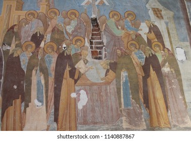 FERAPONTOVO, VOLOGDA OBLAST / RUSSIA - MARCH 07 2015: Ancient fresqoes on the walls of the Ferapontov Monastery. The interior walls are covered with frescoes by the medieval painter Dionisius