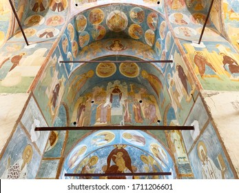 Ferapontovo, Vologda region, Russia, February, 23, 2020.  Ferapontov monastery. Frescoes of Dionysius in the Cathedral of the Nativity of the virgin.