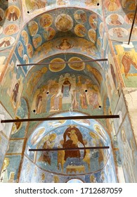 Ferapontovo, Vologda region, Russia, February, 23, 2020.  Ferapontov monastery. Frescoes of Dionysius in the Cathedral of the Nativity of the virgin