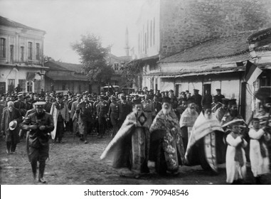 Ferdinand I, Czar of Bulgaria, marches with religious and military figures in Mustapha Pasha, 1912. Ferdinand said the war was a just, great and sacred struggle of the Cross against the Crescent