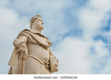 Ferdinando I Medici, Grand Duke of Tuscany. Monumental statue erected in 1594 in the city of Arezzo (with clouds and copy space)