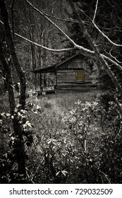 Ferguson's Cabin, in the Smoky Mountains National Park, Maggie Valley, North Carolina, with creepy Halloween effect