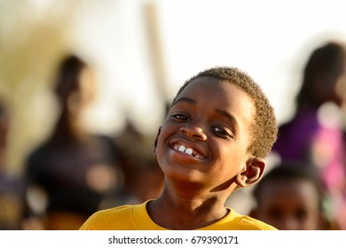FERLO DESERT, SENEGAL - APR 25, 2017: Unidentified Fulani little boy smiles. Fulanis (Peul) are the largest tribe in West African savannahs