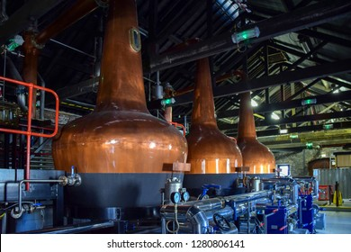 fermentation tanks for making different types of whiskey in the Distillery