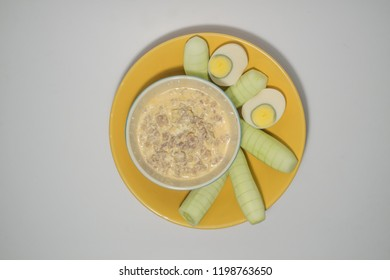 Fermented bean paste with half one eggs and Cucumber prepare serve.