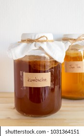 fermented drink, Kombucha healthy natural probiotic drink in a glass jar.