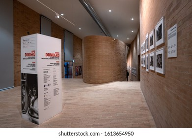 FERMO, ITALY - DECEMBER 2019: Mario Dondero photography exhibition inside Terminal space in Fermo. Dondero was an important press photographer from Italy.