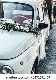 Fermo, Marche/Italy - August 31 2018: Vintage Fiat 500 decorated so nicely for a Italian wedding