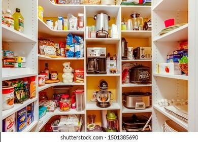 Fernandina Beach, Florida / USA - October 26 2019: An organized and well stocked large pantry