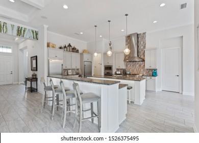 Fernandina Beach, Florida / USA - October 8 2019: Kitchen in a big house in Florida