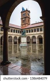 Fernando de Valdes Salas monument in historic buildings of Oviedo University, Spain