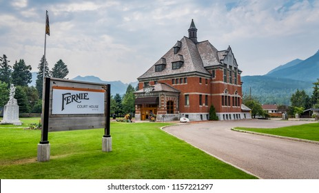 Fernie, BC / Canada - 08 11 2018: Fernie Court House building during summer 2018