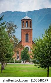 Fernie, BC / Canada - 08 11 2018: Fernie Holy Family Church during summer 2018