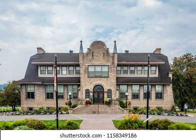 Fernie, BC / Canada - 08 11 2018: Fernie Town Hall building during summer 2018