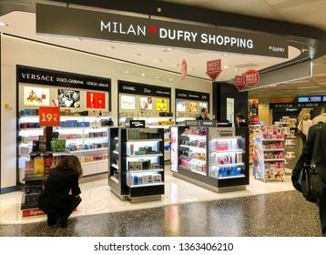 Ferno, Milan-Malpensa, Italy - April 3, 2019: Milan Duty Free Shopping area inside of the Terminal 1 of Milan Malpensa International Airport.