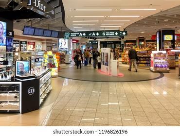 Ferno, Milan-Malpensa, Italy - September 26, 2018: Duty Free Shop, where passengers make purchases before departure in Terminal 1 of Milan Malpensa International Airport.