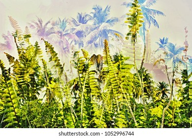Ferns in different shades of green in the glowing sunlight, behind indicated height, in the wind blowing palms. They are barely visible, only hinted at in very pale blue colors.