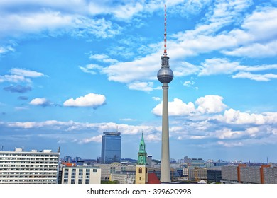 Fernsehturm that is Berlin TV Tower on Alexanderplatz in Berlin in Germany. This television tower is the tallest tower in Germany. It is one of the symbols of Berlin and can be seen in central Berlin.