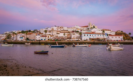 Ferragudo at sunset, Algarve, Portugal.