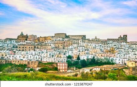 Ferrandina white old town panoramic, view. Matera province Basilicata, Italy, Europe