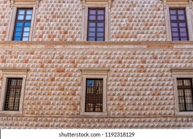 Ferrara diamond palace pyramid facade view