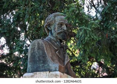 Ferrara, Emilia Romagna / Italy - September 08 2018: Bust of Giuseppe verdi at Massari Park.