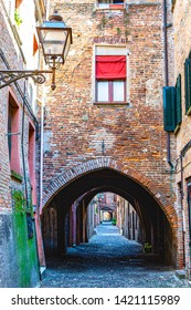 FERRARA, EMILIA-ROMAGNA, ITALY - May 25, 2018: View of Via delle Volte in the medieval center of the city, a World Heritage site.