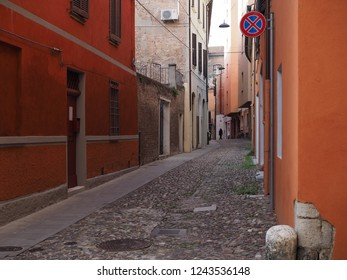Ferrara, Italian. Colored street in the historic centre.