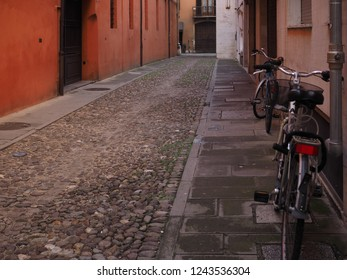 Ferrara, Italian. Colored street in the historic centre with bikes.