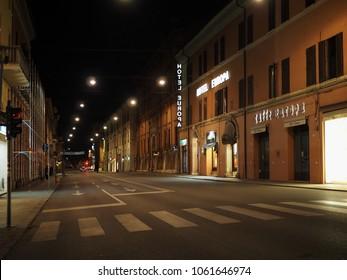 Ferrara, Italy - April 3, 2018. Corso della Giovecca, the main street in the night.