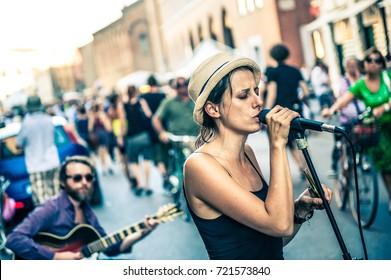 FERRARA, ITALY - August 12, 2012: Buskers Festival is an international street artists event.
