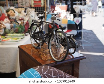Ferrara, Italy - Avril 1, 2018. Antiques market in the historic center.  Model bikes.