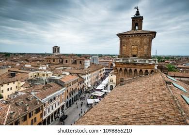 FERRARA, ITALY - Castello (Castle) Estense, a four towered fortress from the 14th century, Ferrara, Emilia-Romagna, Italy