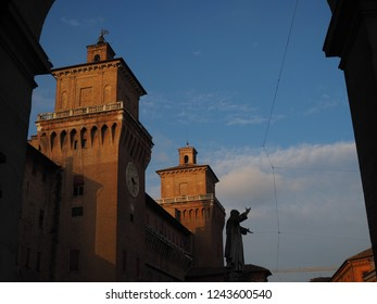 Ferrara, Italy. The castle seen from Piazza Savonarola.
