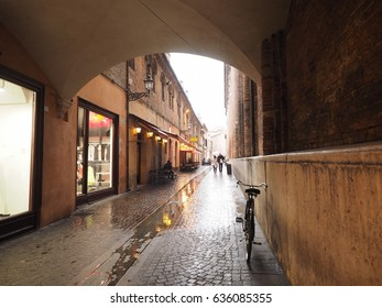Ferrara, Italy. The city in the rain.