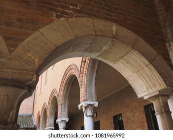 Ferrara, Italy. Courtyard of San Romano church, detail.